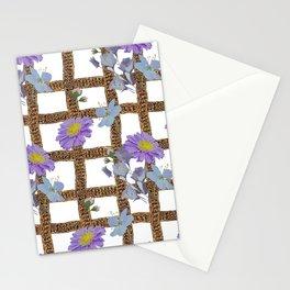 Vintage stylish flowers pattern on original lattice and white background Stationery Cards