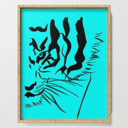 Eye Of The Tiger - Black & Turquoise Serving Tray