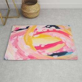 Abstract vibrant painting, loops and dabs Rug