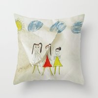 sisters Throw Pillows featuring Sisters?  by Ethna Gillespie