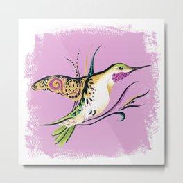 Hummingbird Ink Tribal Romantic Pink Metal Print