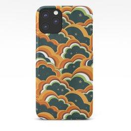 Retro 70s Boho Clouds Oranges greens iPhone Case