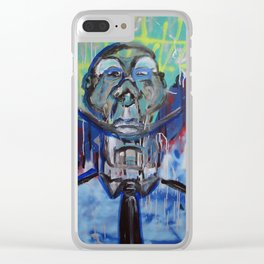 Blue Face Number Two Clear iPhone Case