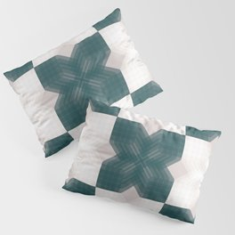 Green and White Opaque Intersections  Pillow Sham