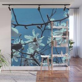 White Magnolia Bloom Blue Sky Wall Mural