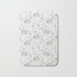 houses, watering cans and birds Bath Mat