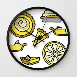 Cute Yellow Lemon Icebox Pie Summer Pattern Wall Clock
