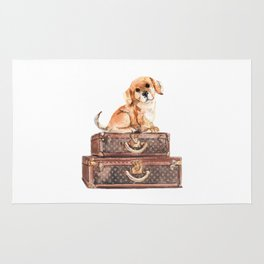 Dog and suitcases Rug