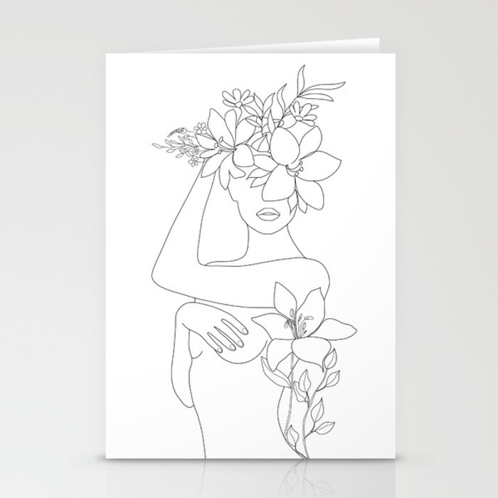 Minimal Line Art Woman with Flowers VI Stationery Cards