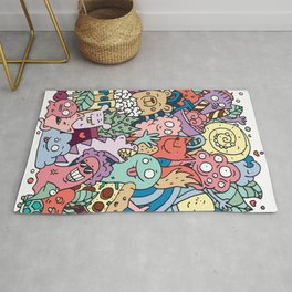 Funny doodle creatures in colour  Rug