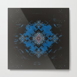 Blue Diamond Techno-Wisp Mandala Metal Print