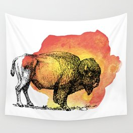 American Bison on Sunset Orange Watercolor Wall Tapestry