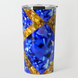 ASYMMETRIC ROYAL BLUE SAPPHIRE GEMSTONES ART ON GOLD Travel Mug