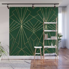 Art Deco in Gold & Green - Large Scale Wall Mural
