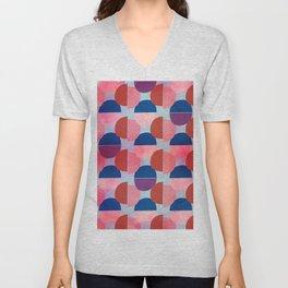 Geometric Abstract Half Round Pattern Unisex V-Neck
