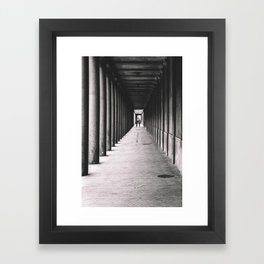 Arcade with columns in Copenhagen, architecture black and white photography Framed Art Print