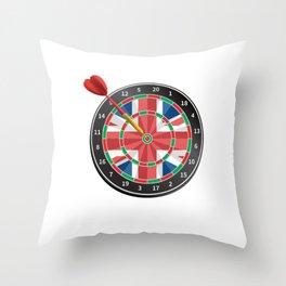 British Flag Darts, UK Darts, Dart Player Throw Pillow