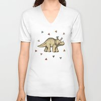 bedding V-neck T-shirts featuring Triceratops & Triangles by micklyn