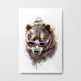 Cool shy bear Metal Print