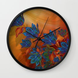 """Blue flowers on orange silk"" (Air Spring at night) Wall Clock"