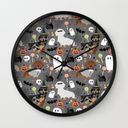 Dachshund dog breed halloween cute pattern doxie dachsie dog costumes Wall Clock
