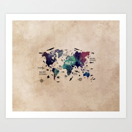 world map oceans life with text Art Print