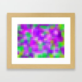 purple and green pixel abstract Framed Art Print