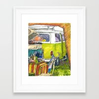 volkswagon Framed Art Prints featuring VW Bus Campsite by Barb Laskey Studio