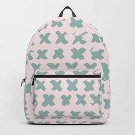 Contemporary X Paint Cross stich Pink Mint Pattern Backpack