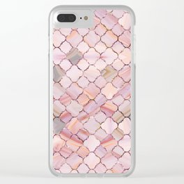 Moroccan Pattern in Marble and quartz crystal Texture Clear iPhone Case