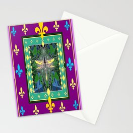 Yellow Dragonfly Purple Fleur de Lys Abstract Stationery Cards