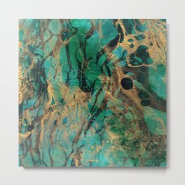 Green and Gold marbled paper Metal Print