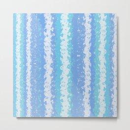 Creamy Pastel Blue Stripes Metal Print