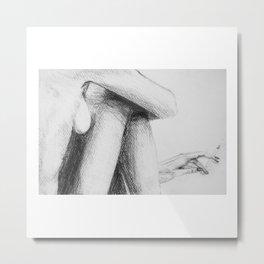 Smoking woman black and white graphic Metal Print