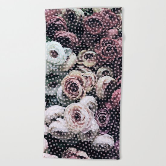 Flowers with Polka Dots Beach Towel