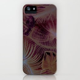 muted lilac beige tropical leaves design iPhone Case
