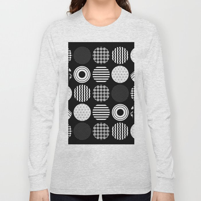 Ecelctic Geometric 2 - Black and white multi patterned design Long Sleeve T-shirt