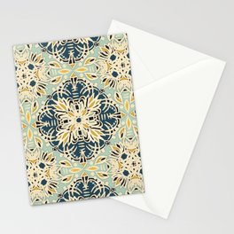 Protea Pattern in Deep Teal, Cream, Sage Green & Yellow Ochre  Stationery Cards