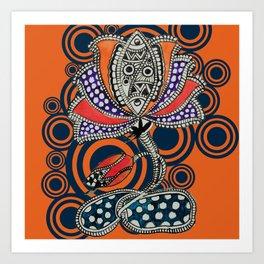 Madhubani - Lotus Fish 1 Art Print