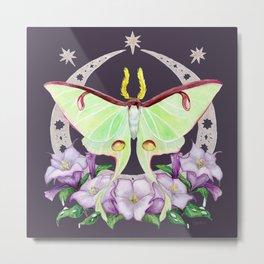 Nighttime Luna Moth with Datura Flowers - Indigo Version Metal Print