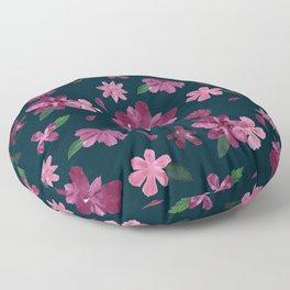 Burgundy Blush Floral Pattern Floor Pillow
