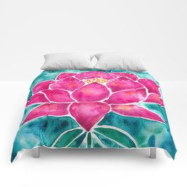 Sacred Lotus – Magenta Blossom with Turquoise Wash Comforters