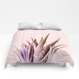 Duotone Aloe Vera on pastel Coral Comforters