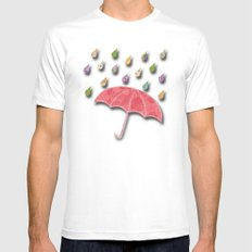 It's raining, it's pouring MEDIUM White Mens Fitted Tee