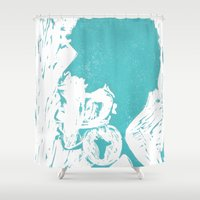 afro Shower Curtains featuring Afro Blue by J. Lynn Art