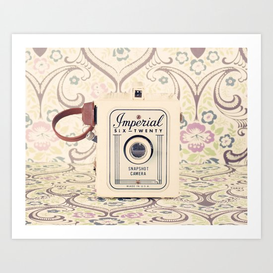 Retro camera on pattern background  Art Print