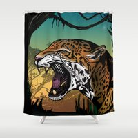 jaguar Shower Curtains featuring Jaguar by Adamzworld