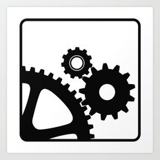 three mechanical wheels icon technology settings symbol Art Print