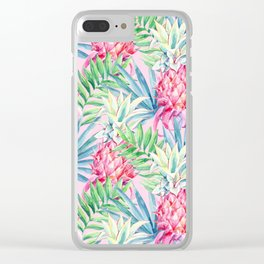Pineapple & watercolor leaves Clear iPhone Case