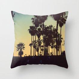 Venice Beach Sunset Throw Pillow